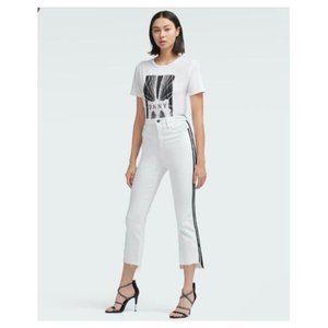 DKNY White Jeans Black Racer Stripes High Waist